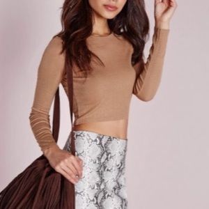 Missguided Ribbed Long Sleeve Crop Top